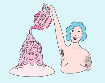 Infusion de poils de féminazies - Impression