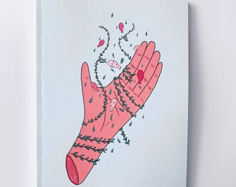 Cahiers à dessin vierges - Main fleurie