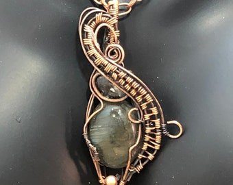 Wire Wrapped Pendant Necklace with Pietersite Hand Wrapped Pendant Jewelry in Antiqued gun metal Wire Pendant And Chain