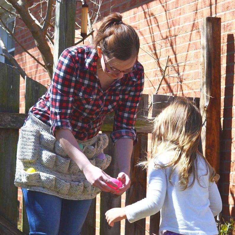 Homesteaders Apron  Domestic Goddess smock  wearable egg cozy  farm girl chic  egg holder
