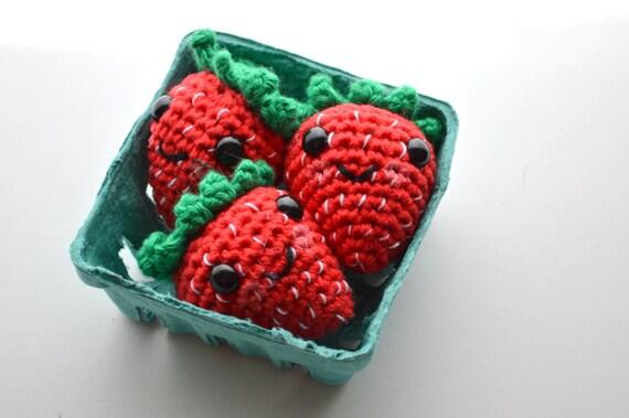 Erdbeeren spielen Essen Set Amigurumi Stil häkeln Obst 3er