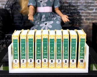 1:6 Scale Books YELLOW 10 Volume Set AND 3D Printed Book Holder For Doll Bookshelf Filler, Coffee Tables, and other Miniature Dwelling Props
