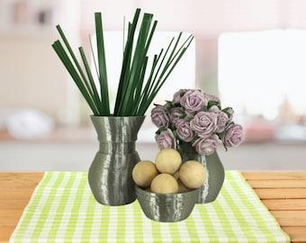 Silver Colored 1:6 Scale Doll Decor Set of 3 Vase Decor For Barbie Sized Room Box Accessories Dollhouse Decor