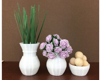 White 1:6 Scale Doll Decor Set of 3 Vase Decor For Barbie Sized Room Box Accessories Dollhouse Decor