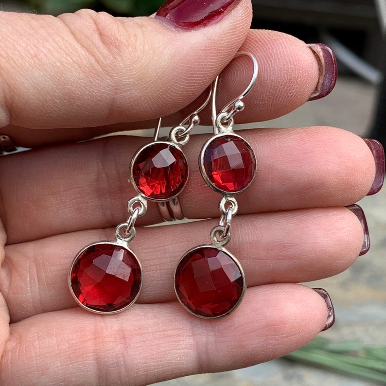Long Red Quartz Earrings 2 inch