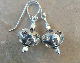Sterling Silver Earrings, Hill Tribe Silver Earrings, 1 & 1/2 inch long
