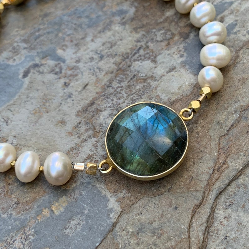 Pearl Bracelet with Labradorite and gold vermeil accents 7.25 inches