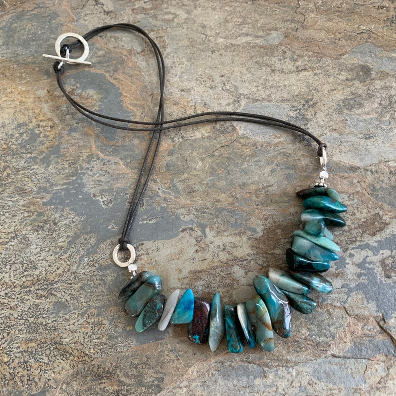 Bohemian Blue Azure Necklace on Cord 18 or 23 inch