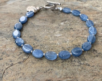 Kyanite Bracelet with Hill Tribe Silver, 7.5 inch