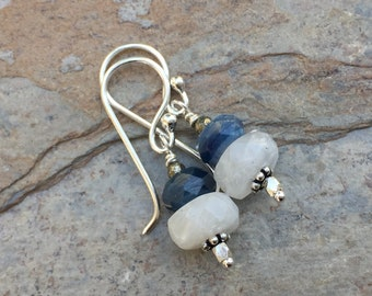 Moonstone and Lapis Earrings, Moonstone Earrings, Lapis Lazuli Earrings, White and Blue Earrings, Sterling Silver, 1.25 inch