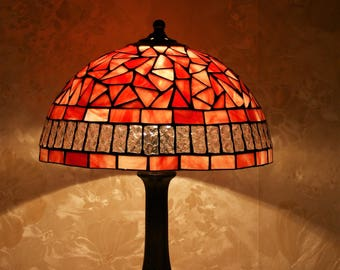 Red Stained Glass Lamp Mosaic Tiffany Lamp