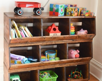 Custom Wood Toy Bin Storage Stackable Toy Box