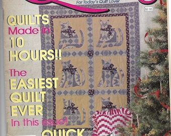 Quick & Easy Quilting Magazine Winter 1989 - weekend quilts, cats, Santa, Christmas, Folk Art and more