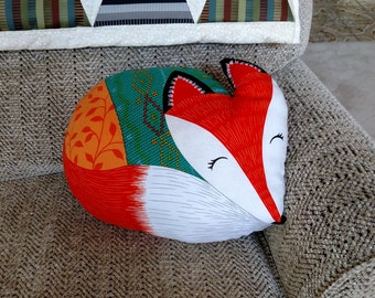 Fox in Sweater Pillow, Handmade, Cuddly & Cute!