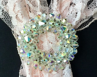 Aurora Borealis Brooch/ vintage AB glass beads/ Perfect with any color/Intricate silver setting with C clasp/onlyformejewelry/ gift idea