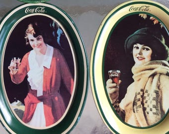 Coca Cola Tin Trays/ tole ware trays/ advertising, tip or change trays/ home decor/Coke memorabilia/1920's ad's for Coke/ onlyformejewelry/