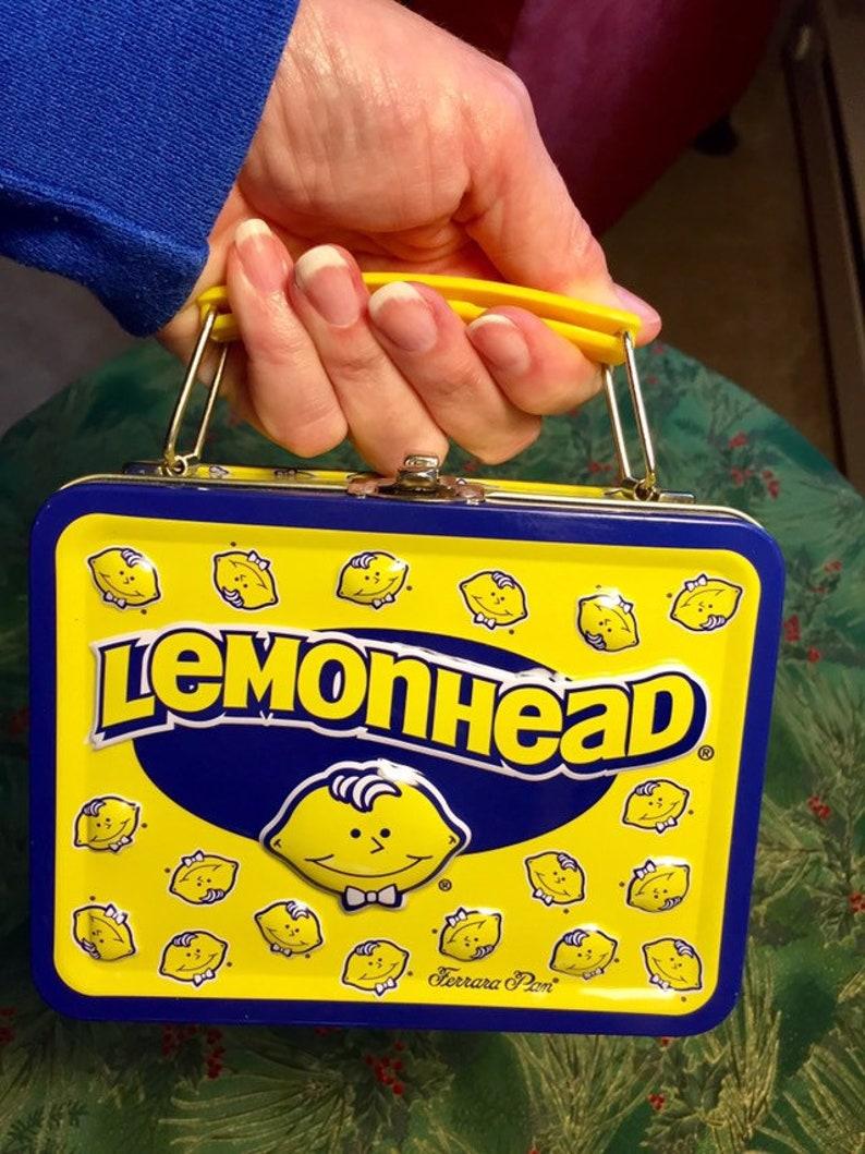 LemonHead Mini Lunchbox/ Ferrara Pam Candy Company/ vintage trinket box/  snack box/ onlyformejewelry/ collectors item
