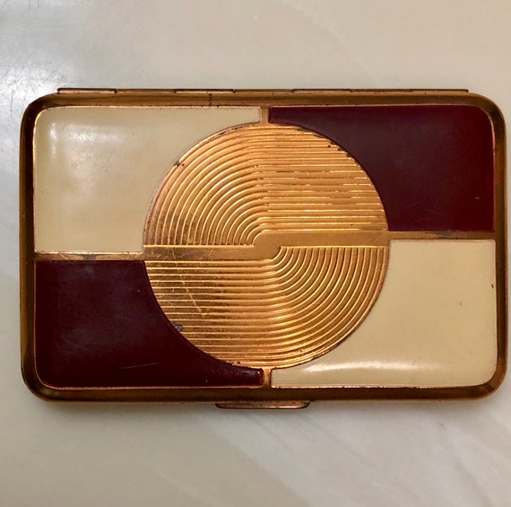 Richard Hudnut Compact/ Cream & Burgundy Art Deco… - image 2