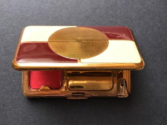 Richard Hudnut Compact/ Cream & Burgundy Art Deco… - image 10
