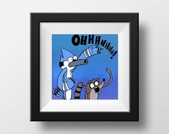 37779fd022145 The Regular Show / Mordecai and Rigby / Cartoon Art Poster / Print / Home  Decor / Pop Art Gift