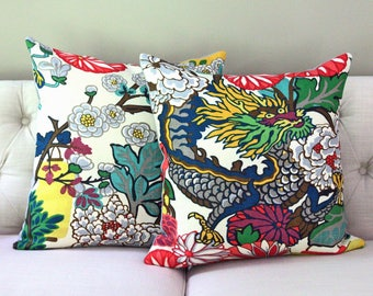PAIR - Chiang Mai Dragon Alabaster designer pillow covers - Schumacher