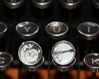 Banjo Typewriter Key Earrings