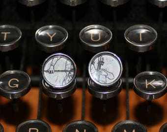 Cellist Typewriter Key Earrings