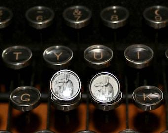 Anubis Typewriter Key Earrings