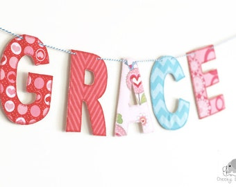 Fabric Name Banner - Personalized Name Banner - Name Garland - Name Bunting - Name Décor - Fabric Letters on Baker's Twine