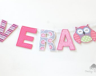fabric name banner owl – personalized owl name banner – name garland - name bunting – name décor - fabric letters on baker's twine