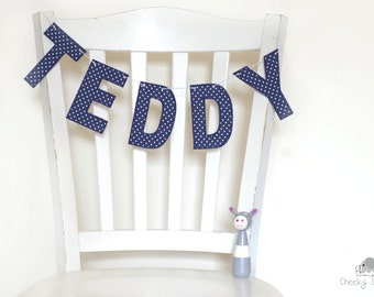 Blue polka dot name hanging, name flag, wall hanging name, custom name banner, fabric name garland, classic blue name décor, fabric letters