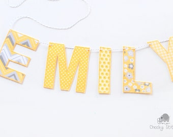 Yellow and gray name banner, name hanging, name flag, wall hanging name, custom name banner, name garland, yellow and grey name décor
