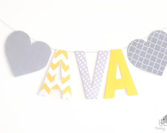 Grey yellow heart fabric name banner, personalized name banner hearts, name garland, name bunting, grey yellow heart wall decals