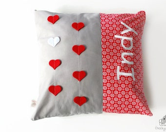 Personalised heart pillow, heart strings pillow, personalized heart cushion, red and grey name pillow, 3D hearts pillow, Valentines day gift