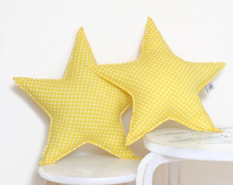 SALE: Star shaped pillow, star cushion, star pillow, yellow star, star shaped cushion, star nursery decor, yellow baby pillow