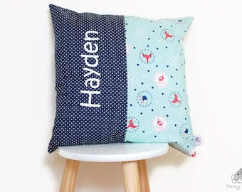 Personalised Woodland Pillow, name cushion woodland animals, name pillow bambi, blue and mint name cushion, personalised bambi cushion