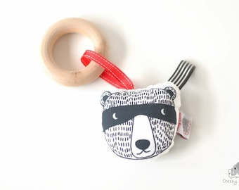 Ninja Bear squeaky toy, wooden baby teether, monochrome baby toy, black white baby gift, woodland racoon toy, forest friend baby squeaker