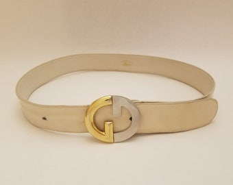 81cc22bbd GUCCI vintage leather belt / Gucci belt white leather GG buckle 70s
