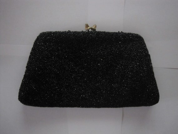 Gucci vintage black beaded evening clutch bag 196… - image 4