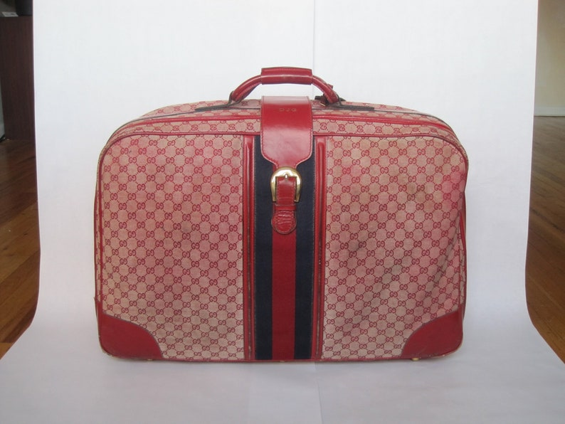 4366fb441 GUCCI vintage suitcase red GG monogram canvas & leather | Etsy
