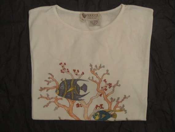 Gucci vintage T-shirt / coral reef printed white … - image 6
