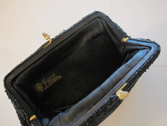 Gucci vintage black beaded evening clutch bag 196… - image 2