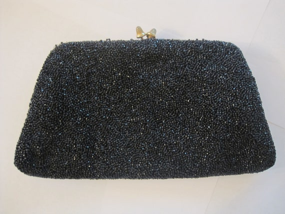 Gucci vintage black beaded evening clutch bag 196… - image 1