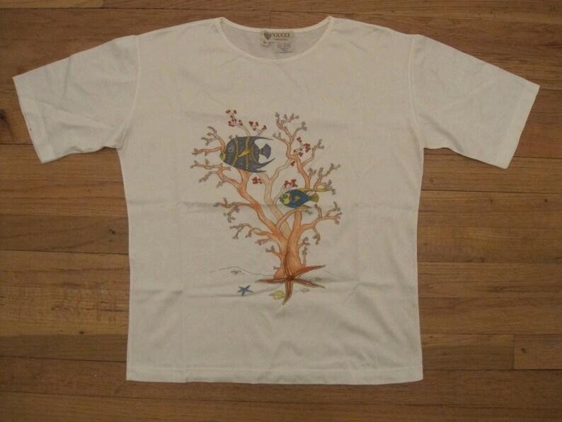 14ef2b67c Gucci vintage T-shirt / coral reef printed white cotton tee | Etsy