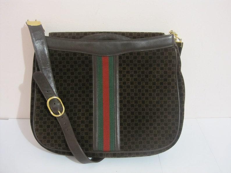 97ae9efa468 GUCCI vintage GG shoulder bag   1970s Gucci brown leather