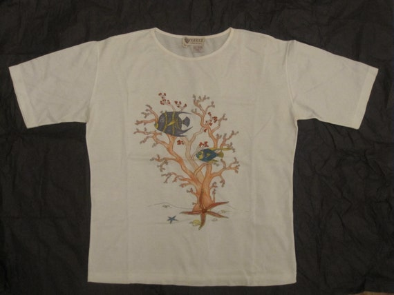 Gucci vintage T-shirt / coral reef printed white … - image 1