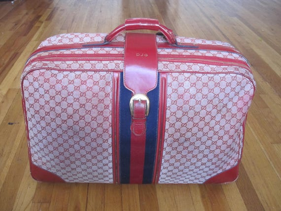 d9371eda96a9 GUCCI vintage suitcase red GG monogram canvas & leather   Etsy