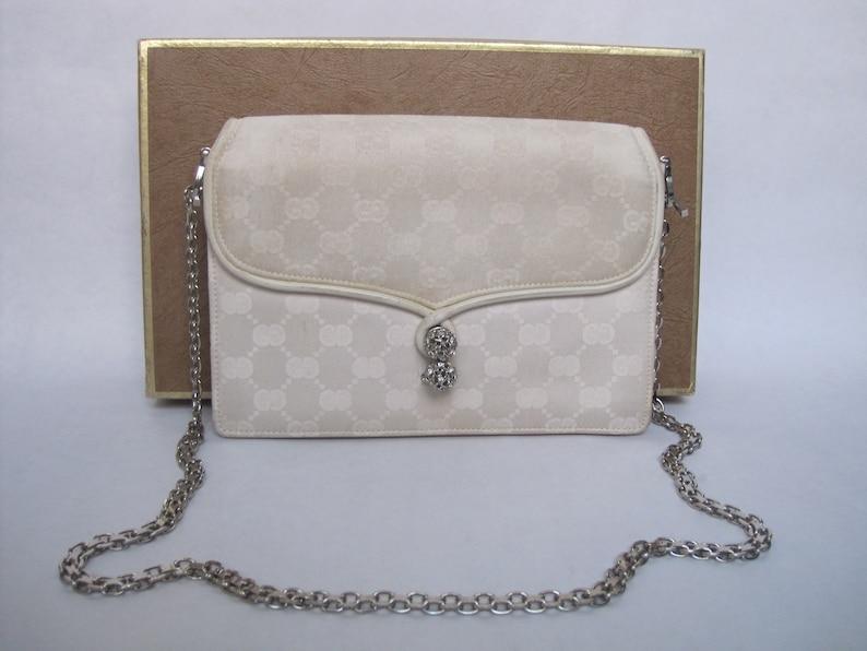 56ca62837c57ec GUCCI bag vintage / chained white GG monogram handbag 1970s | Etsy