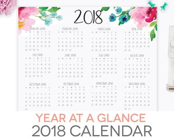 year at a glance calendar 2018 printable letter size