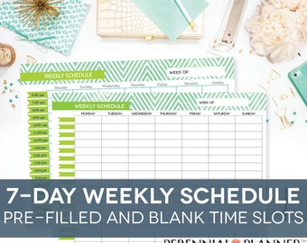 daily schedule printable editable times half hourly weekly etsy